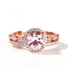 Jeulia Halo Milgrain Round Cut Synthetic Morganite Sterling Silver Ring Set