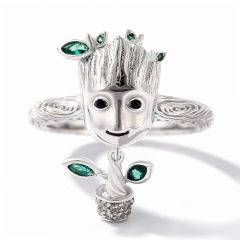 "Jeulia ""I am Groot""  Tree Man  Sterling Silver Dangle Ring"