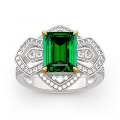 Jeulia Vintage Emerald Cut Sterling Silver Ring