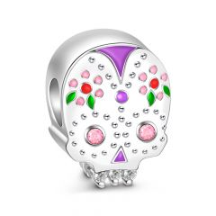 Multicolor Sugar Skull Sterling Silver Charm