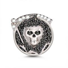 Grim Reaper Death Skull Sterling Silver Charm