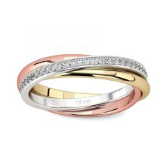 Jeulia Three Tone Round Cut Sterling Silver Women's Band