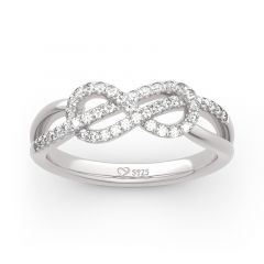 Jeulia Infinity Knot Design Sterling Silver Band