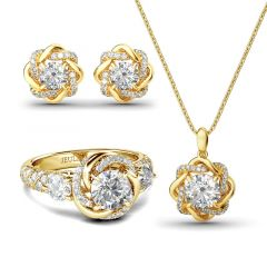 Jeulia Knot of Love Sterling Silver Jewelry Set