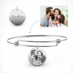 Jeulia Personalized Laser Engraved Photo Bangle