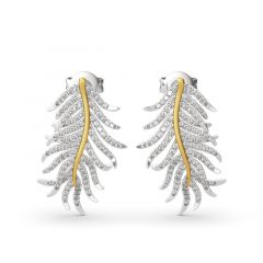 "Jeulia ""Feathers appear when Angels are near"" Sterling Silver Earrings"