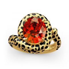 "Jeulia ""Wild Beauty"" Leopard Print Oval Cut Sterling Silver Ring"