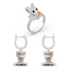 Jeulia Zero From The Nightmare Before Christmas Sterling Silver Jewelry Set