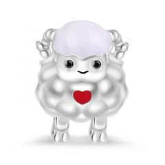 """""""Propitious and Harvest"""" Sheep Figure Charm Bead Sterling Silver"""