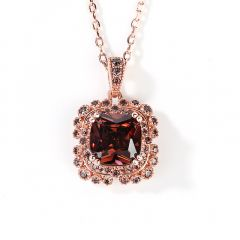 Jeulia Milgrain Design Halo Cushion Cut Sterling Silver Necklace