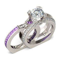 Jeulia Interchangeable Round Cut Sterling Silver Ring Set
