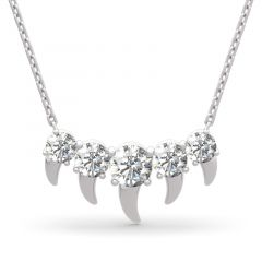 Jeulia Spike Design Round Cut Sterling Silver Necklace
