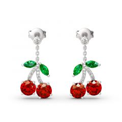 "Jeulia ""Summer Fruit"" Cherry  Design Sterling Silver Earrings"