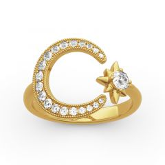 """Jeulia """"Moon and Star"""" Round Cut Sterling Silver Ring"""