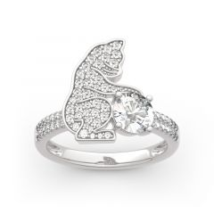 """Jeulia Hug Me """"Always Together"""" Cat Round Cut Sterling Silver Ring"""