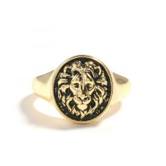 """Jeulia """"King of Beasts"""" Lion Gold Tone Sterling Silver Men's Ring"""