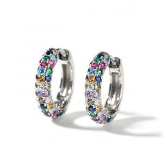 "Jeulia ""Bright is Dazzing"" Round Cut Sterling Silver Hoop Earrings"