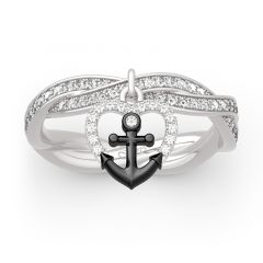 """Jeulia """"Navy Anchor&Heart"""" Twist Design Sterling Silver Ring"""