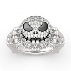 "Jeulia ""Pumpkin King"" Skull Design Sterling Silver Ring"