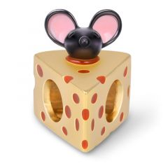 Rat In Cheese Charm Bead 18K Gold Plated Sterling Silver