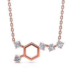 """Jeulia """"Wake up! Dopamine"""" Sterling Silver Hexagon Chemical Structure Molecular Necklace"""