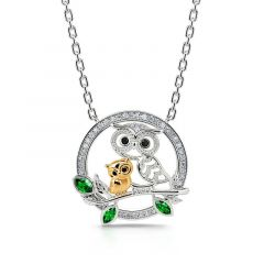 "Jeulia ""Always by My Side"" Mother and Baby Cute Owls Round Sterling Silver Necklace"