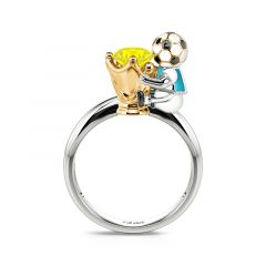 """Jeulia Hug Me """"You're My Champion"""" Argentina Football Team Round Cut Sterling Silver Ring"""
