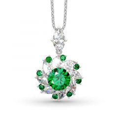 Jeulia Halo Round Cut Sterling Silver Necklace
