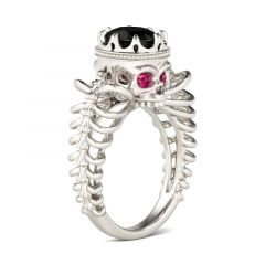 Jeulia Hollow Oval Cut Sterling Silver Skull Ring