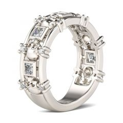 Jeulia Skull Princess Cut Sterling Silver Women's Band