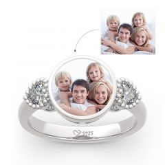 """Jeulia """"The Best Memories"""" Sterling Silver Personalized Photo Ring"""
