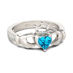 Jeulia Heart Cut Claddagh Sterling Silver Ring