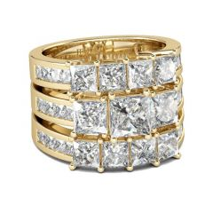 Jeulia Gold Tone Princess Cut Sterling Silver Ring Set