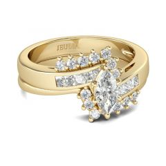 Jeulia Gold Tone Marquise Cut Sterling Silver Ring Set