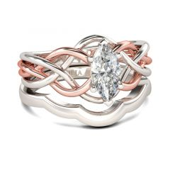 Jeulia Intertwined Marquise Cut Sterling Silver Ring Set