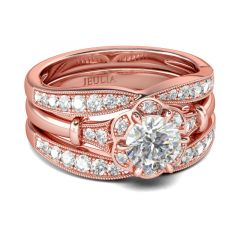 Jeulia Rose Gold Tone Floral Round Cut Sterling Silver Ring Set