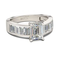 Jeulia Classic Emerald Cut Sterling Silver Ring