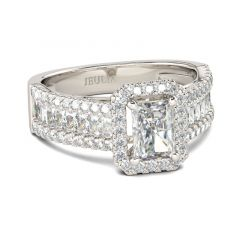 Jeulia Halo Radiant Cut Sterling Silver Ring