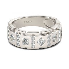 Jeulia Princess Cut Sterling Silver Men's Band