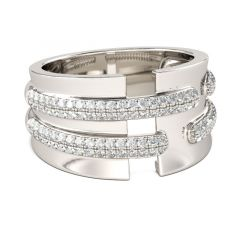 Jeulia Wide Round Cut Sterling Silver Women's Band