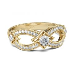 Jeulia Gold Tone Infinity Round Cut Sterling Silver Women's Band